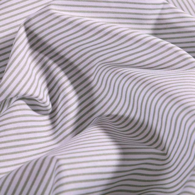 Tissu Coton imprimé Rayures tilleul sur fond Blanc - Par 10 cm