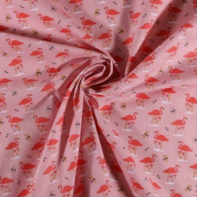Tissu Coton imprimé Arty Flamants et papillons sur fond Rose - Par 10 cm