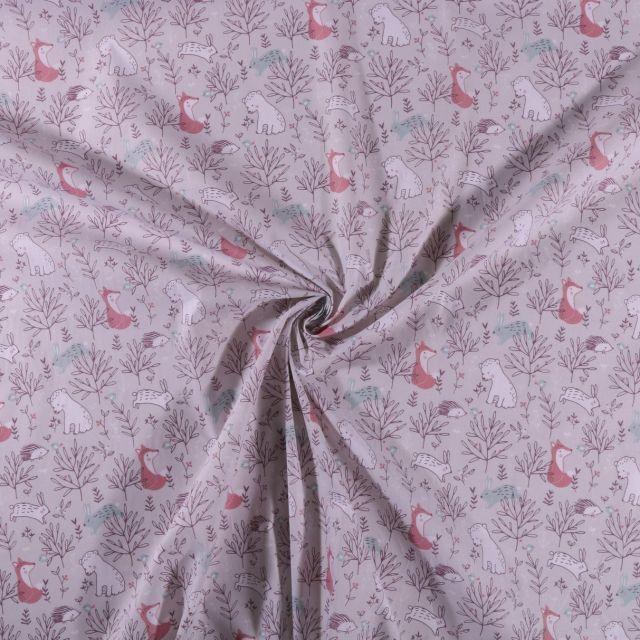 Tissu Coton imprimé Animaux de la forêt sur fond Gris clair - Par 10 cm