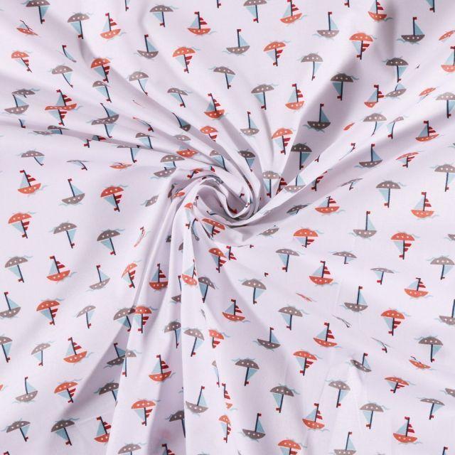 Tissu Coton imprimé Arty Bateaux sur fond Blanc - Par 10 cm