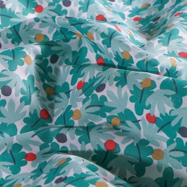 Tissu Coton imprimé Arty Feuillages et pois sur fond Blanc - Par 10 cm