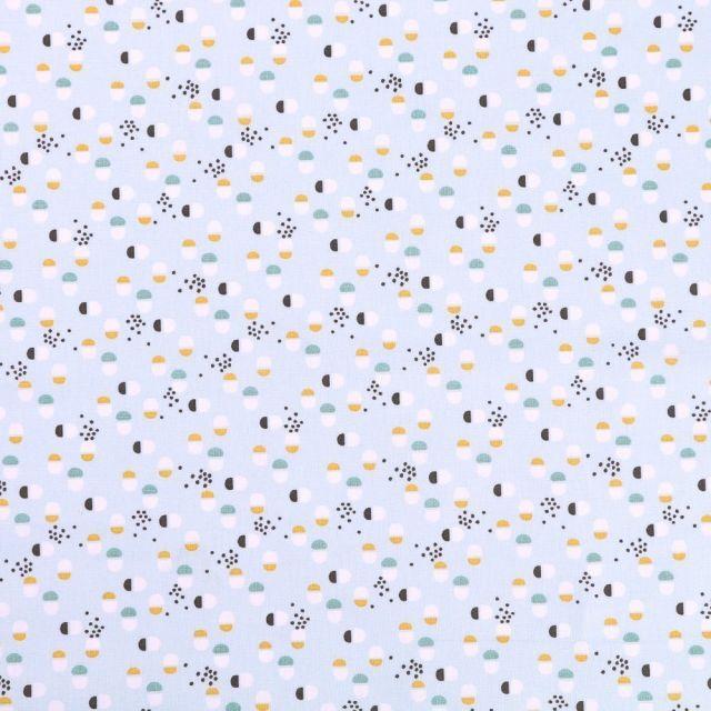 Tissu Coton Imprimé Arty Motifs Moutarde, bleus et blancs sur fond Bleu ciel - Par 10 cm
