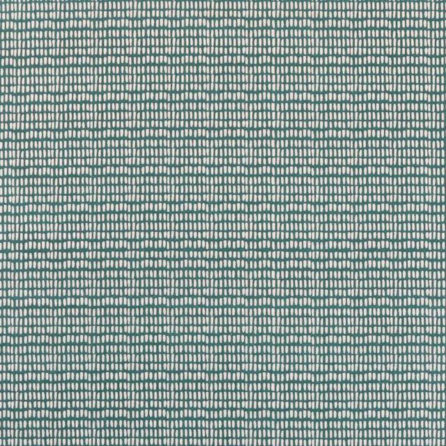 Tissu Coton Imprimé Arty Motifs géométriques Blancs sur fond Vert Sapin - Par 10 cm