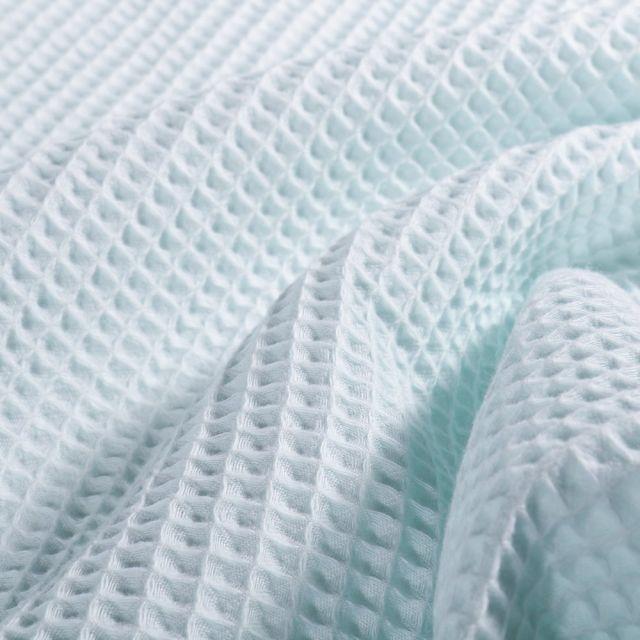 Tissu Nid d'abeille  Bleu céladon - Par 10 cm