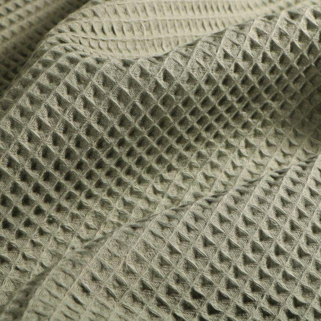 Tissu Nid d'abeille  Vert kaki clair - Par 10 cm