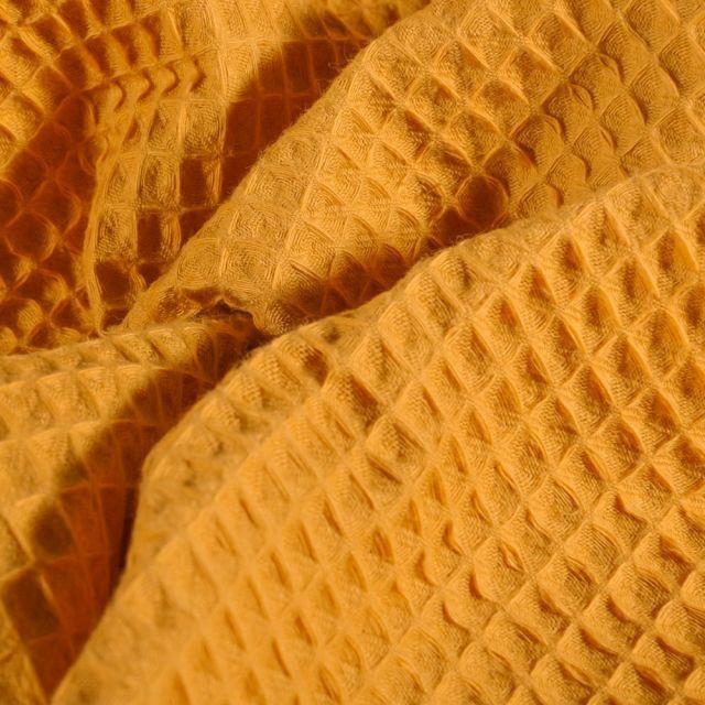 Tissu Nid d'abeille Moutarde - Par 10 cm