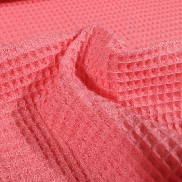 Tissu Nid d'abeille Rose corail - Par 10 cm