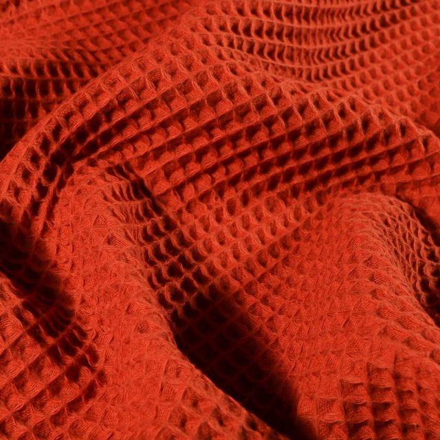 Tissu Nid d'abeille  Rouille - Par 10 cm
