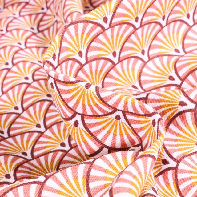 Tissu Toile de Coton Athy sur fond Marsala