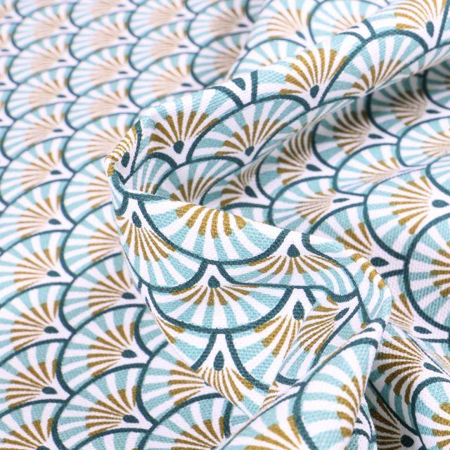 Tissu Toile de Coton Athy sur fond Bleu