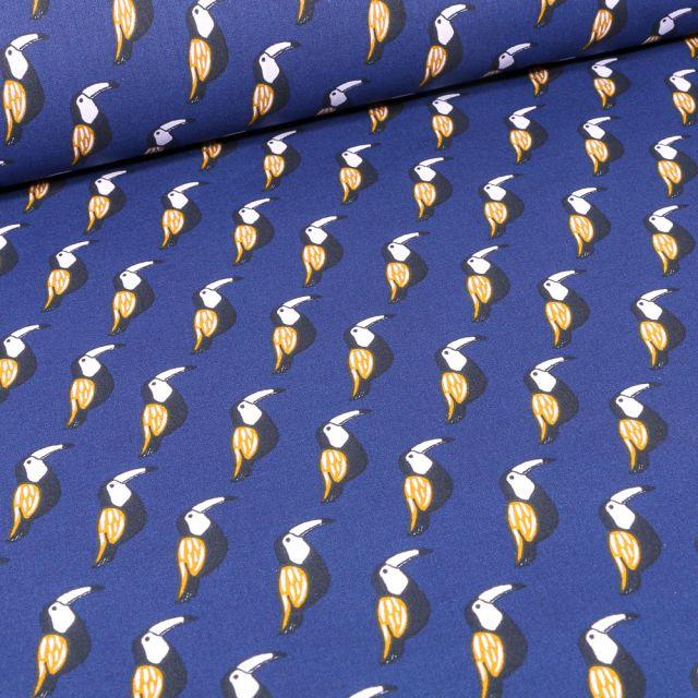 Tissu Coton imprimé Arty Toucans sur fond Bleu roi