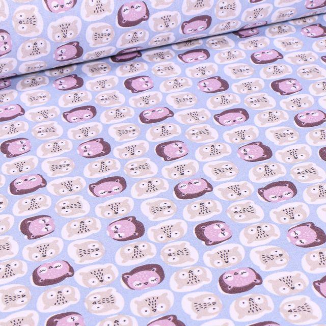 Tissu Coton imprimé Arty Chouco sur fond Bleu ciel