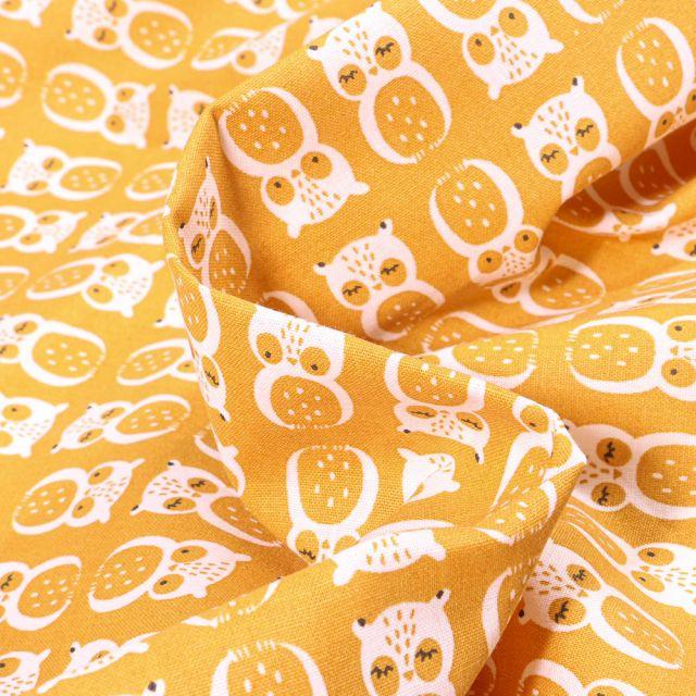 Tissu Coton imprimé Arty Chouni sur fond Jaune