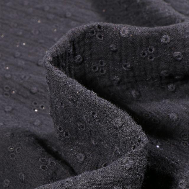Tissu Double gaze brodée Adèle sur fond Noir
