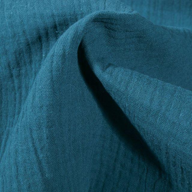 Tissu Double gaze de coton uni Bleu paon - Par 10 cm