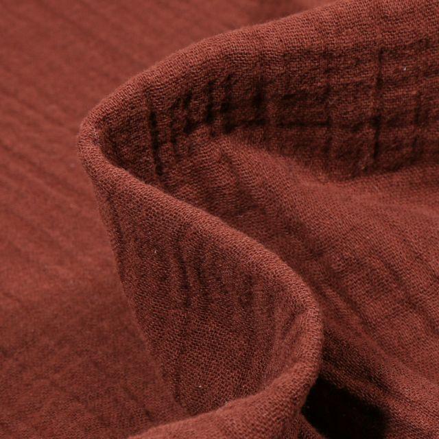 Tissu Double gaze de coton uni Marron foncé