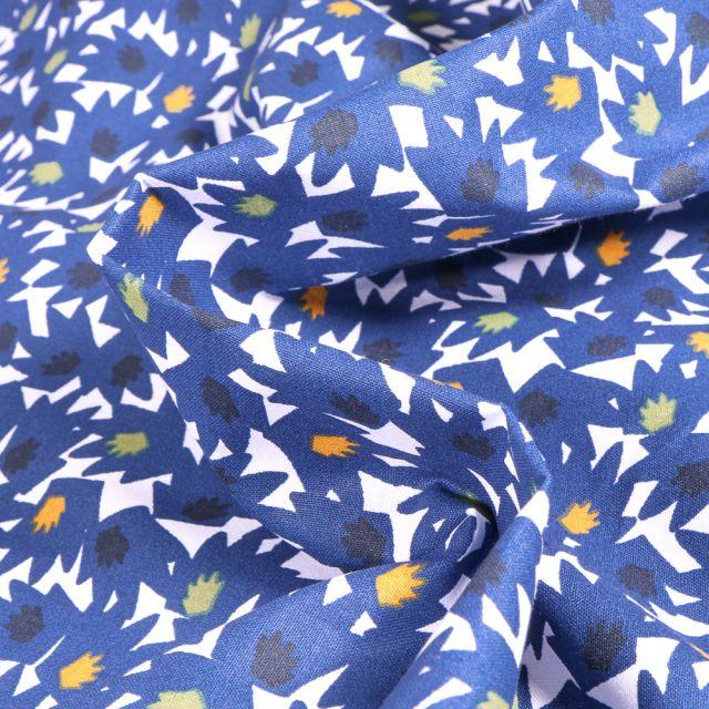Tissu Coton imprimé Arty Eiko sur fond Bleu roi