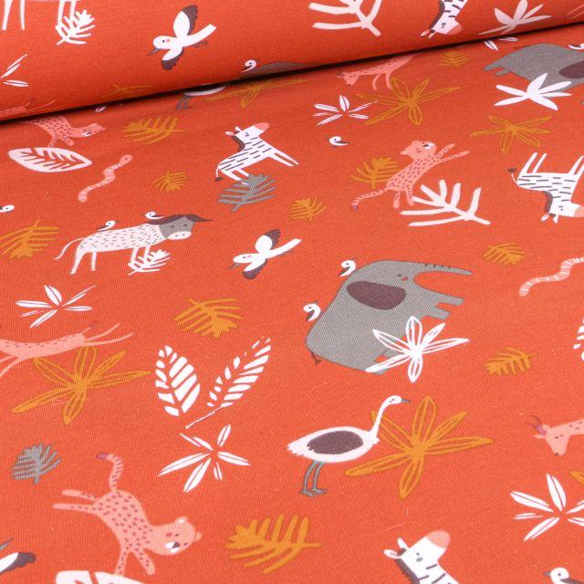 Tissu Jersey Coton Arty Gnou 10 sur fond Orange