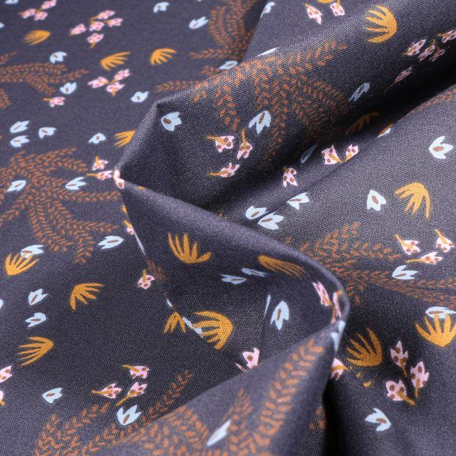 Tissu Coton imprimé Arty Hosia sur fond Bleu nuit
