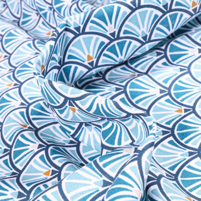 Tissu Coton imprimé Arty Jacinthe sur fond Bleu