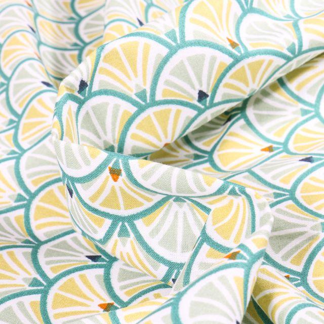 Tissu Coton imprimé Arty Jacinthe sur fond Jaune pastel