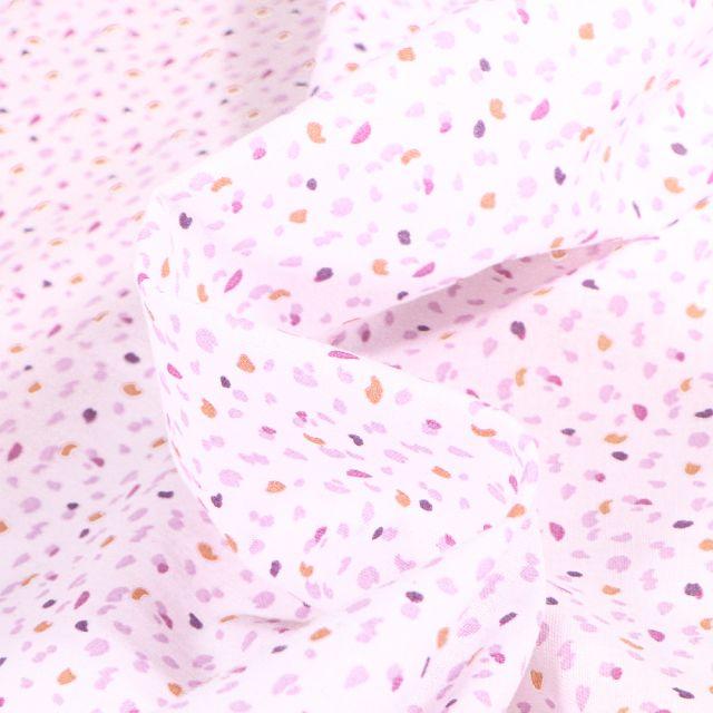 Tissu Coton imprimé Arty Jial violet sur fond Blanc