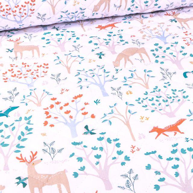 Tissu Matelassé Certs et renards sur fond Blanc