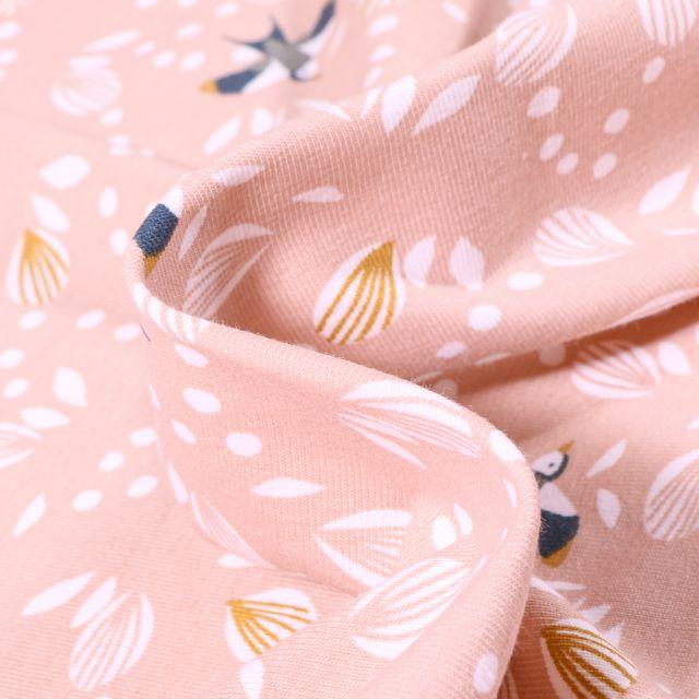 Tissu Jersey Coton Arty Jolhiro sur fond Rose nude