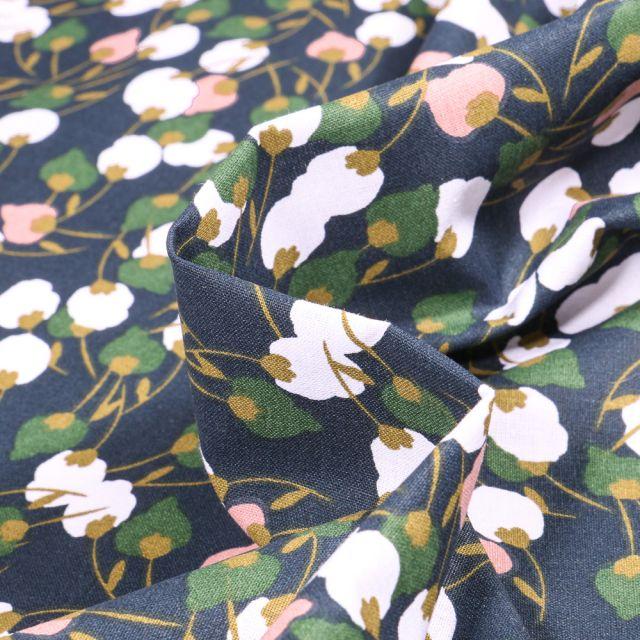 Tissu Coton imprimé Arty Kisnek vert sur fond Bleu marine