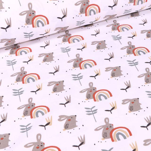 Tissu Jersey coton Lapins et arc en ciel sur fond Blanc
