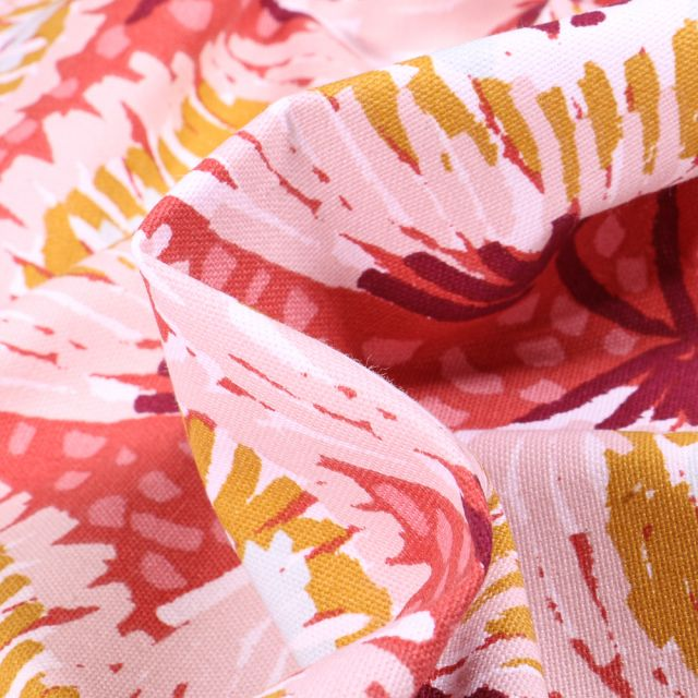 Tissu Toile de Coton Laetitia sur fond Rose