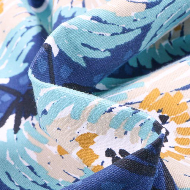 Tissu Toile de Coton Laetitia sur fond Bleu