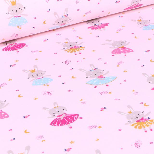 Tissu Jersey coton Lapine danseuse sur fond Rose pâle