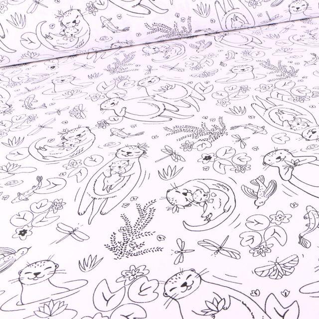 Tissu Coton imprimé Arty Loutre sur fond Blanc