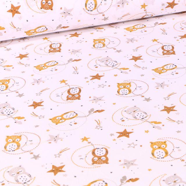 Tissu Coton imprimé Arty Lunazel sur fond Blanc