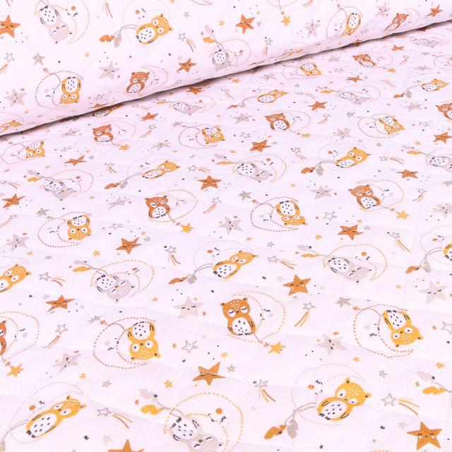 Tissu Matelassé Chouettes et étoiles sur fond Blanc