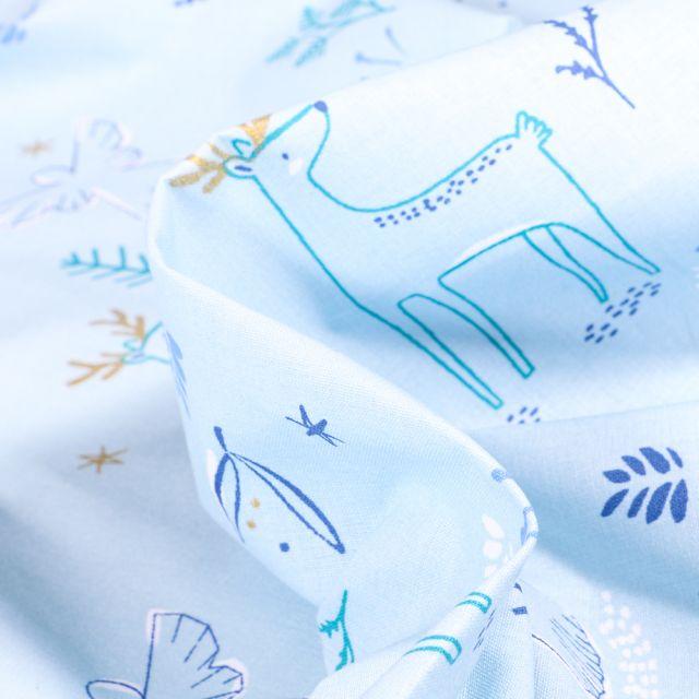 Tissu Coton imprimé Arty Anges at animaux dorés sur fond Bleu ciel