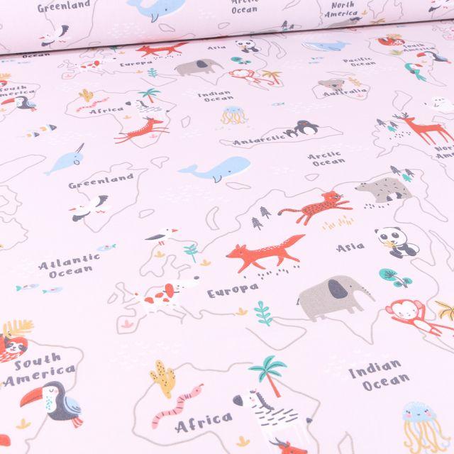 Tissu Coton imprimé Arty Mapzoo sur fond Naturel
