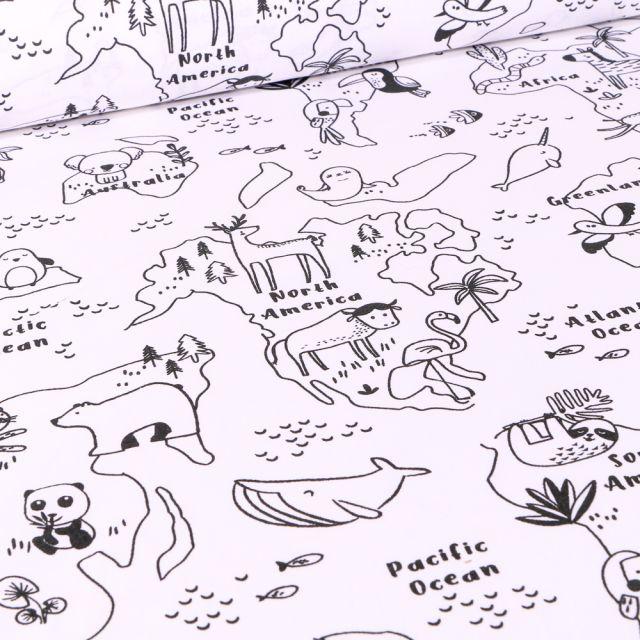 Tissu Coton imprimé Arty Mapacolo sur fond Blanc