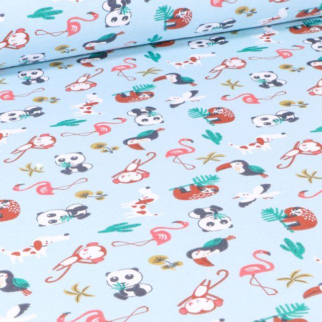 Tissu Jersey Coton Arty Matahi sur fond Bleu ciel