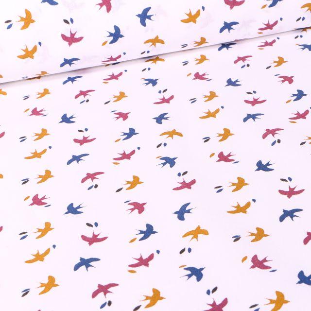 Tissu Coton imprimé Arty Mesao multicolore sur fond Blanc