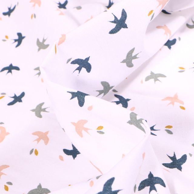 Tissu Coton imprimé Arty Mesao gris bleu sur fond Blanc