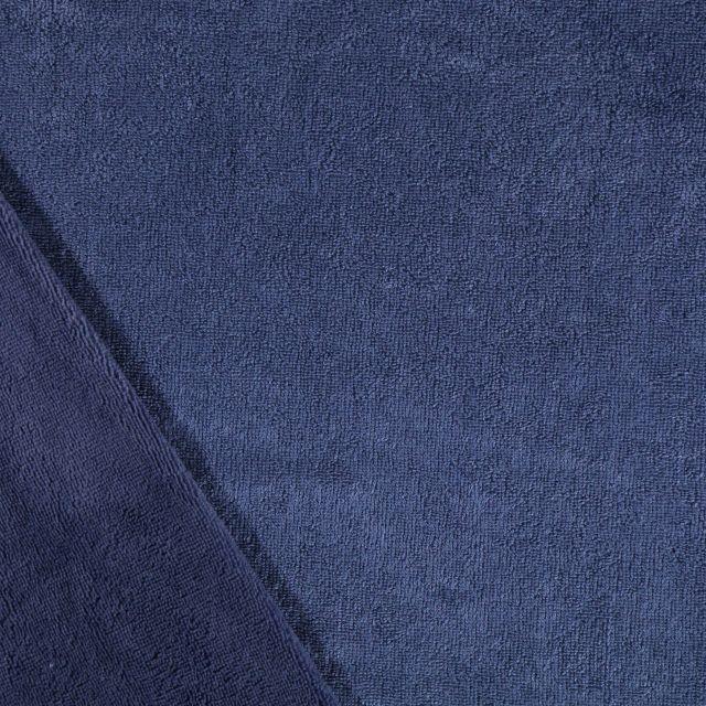Tissu Micro Éponge Bambou Bleu indigo - Par 10 cm