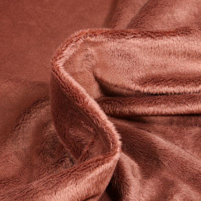 Tissu Minky Ultra doux Ras Marron chocolat