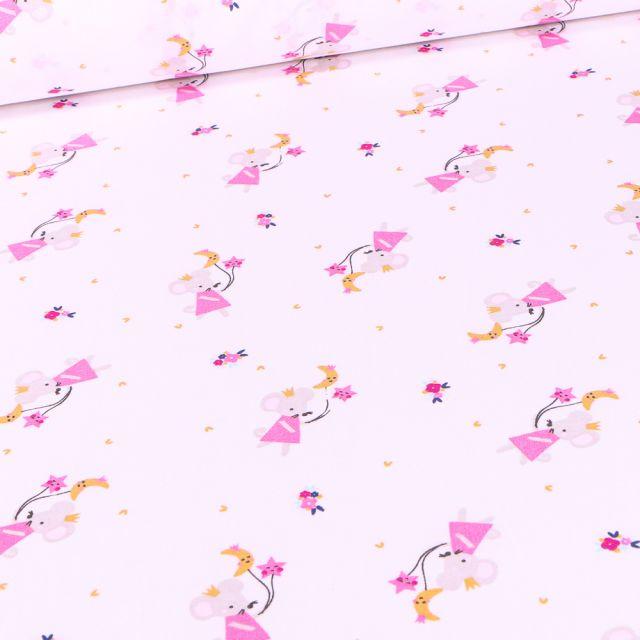 Tissu Coton imprimé Arty Souris et cerf-volant sur fond Blanc