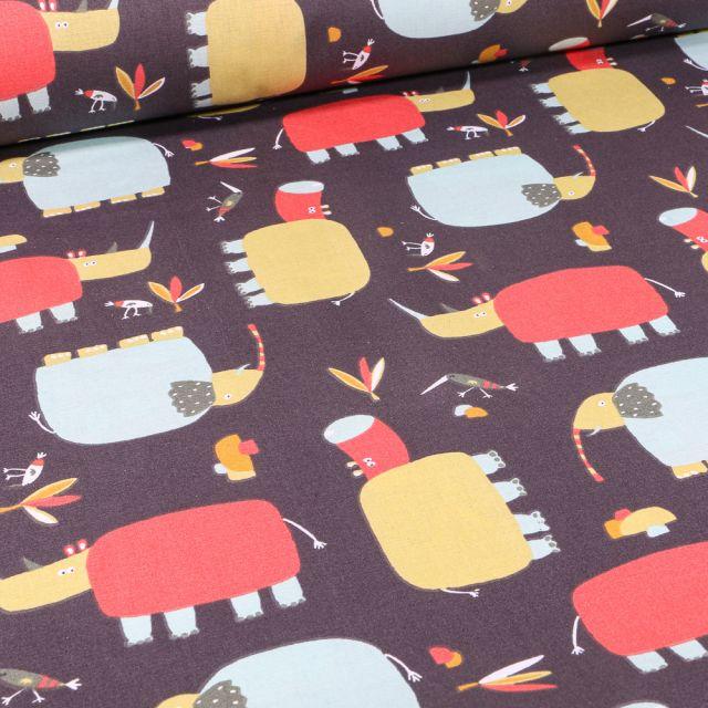 Tissu Coton imprimé LittleBird Rhinocéros et éléphants sur fond Gris foncé