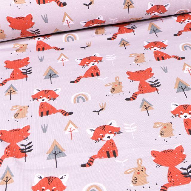 Tissu Jersey coton Renards et lapins en forêt sur fond Beige