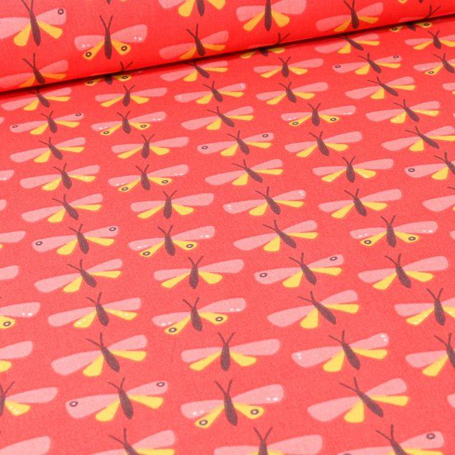 Tissu Coton imprimé Arty Paps sur fond Rouge