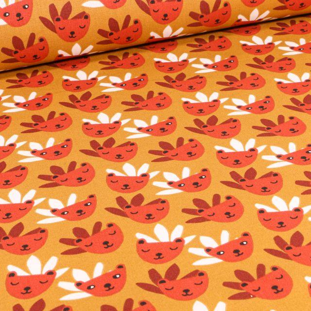 Tissu Coton imprimé Arty Rody sur fond Jaune