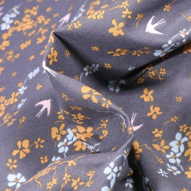 Tissu Coton imprimé Arty Shima sur fond Gris foncé
